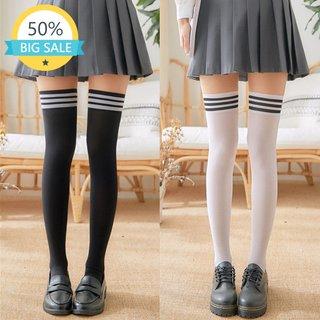 Striped Cute White Black Thigh High