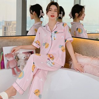 Summer Pajamas Womens Short-Sleeved