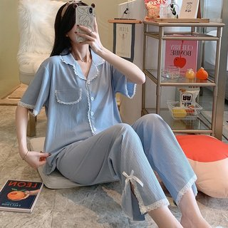 Womens Short-Sleeved Trousers Pajamas
