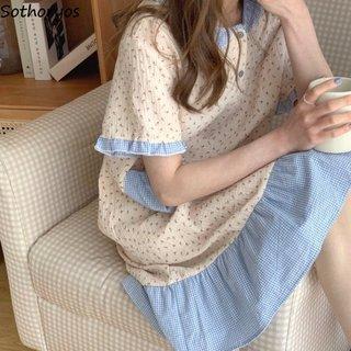 Women Short Sleeve Nightgowns Printed
