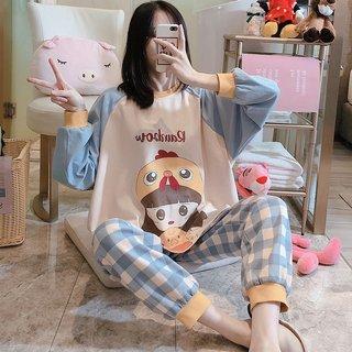 Spring and Autumn Pajamas Womens Plaid