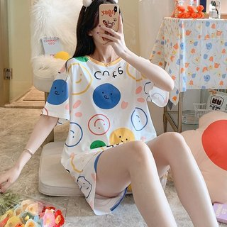 Summer Pajamas Women Short-sleeved Thin
