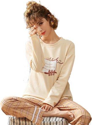 Womens Long-Sleeved Pajamas Spring