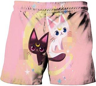Summer Anime Cat Pattern Beach Pants