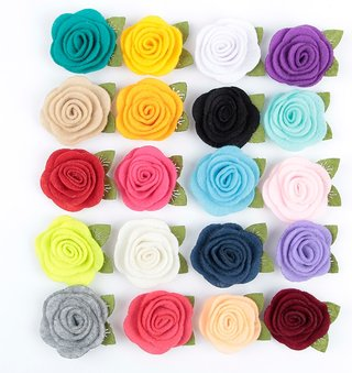 Yundfly 10pcs 3.5CM Felt Rose Flower