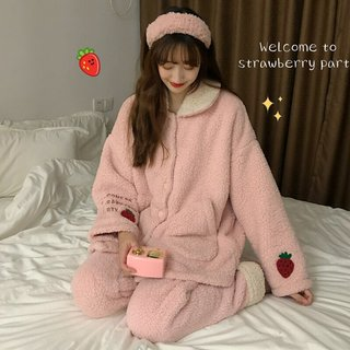 Winter Coral Velvet Pajamas Suit Female