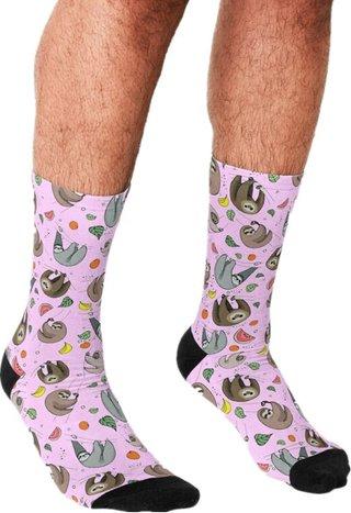 funny Socks Men harajuku Sloths in Pink
