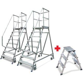 KRAUSE® Podestleiter, fahrbar, Standhöhe 1,90 m, 2er Set + GRATIS Tritt