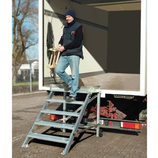 KRAUSE® Podesttreppe, fahrbar, Stufenbreite 1.000 mm, Standhöhe 1 m