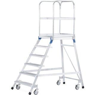 ZARGES Podesttreppe, fahrbar, 1-seitig begehbar, Standhöhe 1,92 m, Aluminium