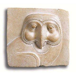 Ägyptisches Sandstein-Relief 'Schleiereule', Version als Wandobjekt