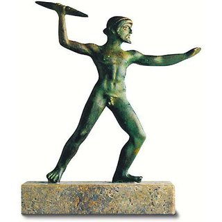 Skulptur 'Zeus als Blitzschleuderer', Metallguss