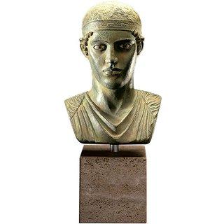 Büste des Wagenlenkers von Delphi, Bronze auf Marmorsockel, Skulptur