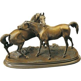 Pierre Jules Mêne: Pferdeskulptur 'Die Umarmung', Kunstbronze