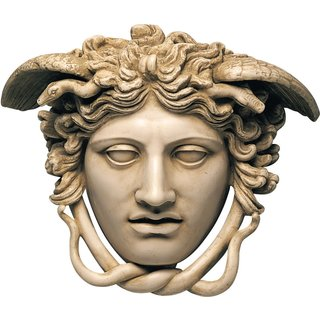 Phidias: Relief 'Haupt der Medusa' (Originalgröße), Kunstmarmor