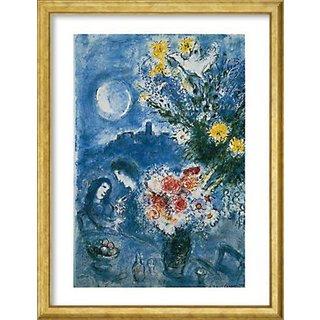 Marc Chagall: Bild 'Abenderinnerung' (1959), Version goldfarben gerahmt