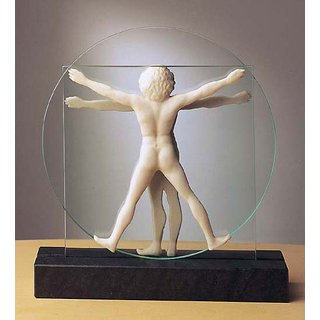 Leonardo da Vinci: Skulptur 'Schema delle Proporzioni', Version in Kunstmarmor