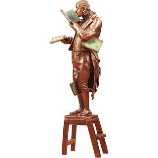 Carl Spitzweg: Skulptur 'Der Bücherwurm', Version in Metallguss