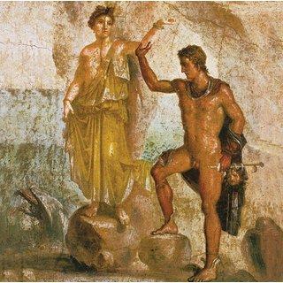 Wandmalerei aus Pompeji: Bild 'Perseus und Andromeda', auf Keilrahmen