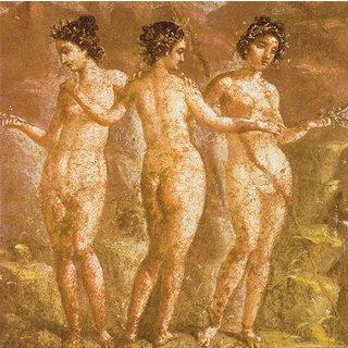 Wandmalerei aus Pompeji: Bild 'Die drei Grazien', auf Keilrahmen