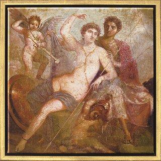 Wandmalerei aus Pompeji: Bild 'Mars und Venus', gerahmt