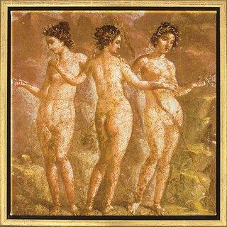 Wandmalerei aus Pompeji: Bild 'Die drei Grazien', gerahmt