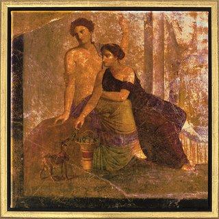 Wandmalerei aus Pompeji: Bild 'Zwei Frauen', gerahmt