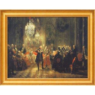 Adolph von Menzel: Bild 'Das Flötenkonzert Friedrichs des Großen' (1852), gerahmt