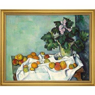 Paul Cézanne: Bild 'Stillleben mit Äpfeln und Primeln' (frühe 1890er), gerahmt
