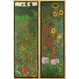 Gustav Klimt: 2 Bilder 'Mohnfeld' und 'Sonnenblumen' im Set