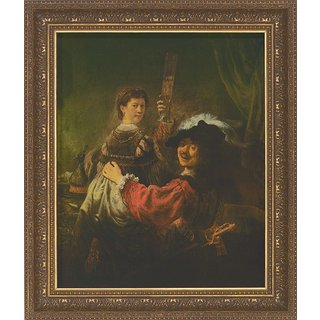 Rembrandt: Bild 'Selbstbildnis mit Saskia' (1635-39), gerahmt