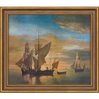 Willem van de Velde: Bild 'Schiffe auf ruhiger See im Abendlicht' (1685), gerahmt