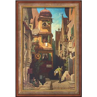 Carl Spitzweg: Bild 'Der Briefbote im Rosenthal' (1858), gerahmt