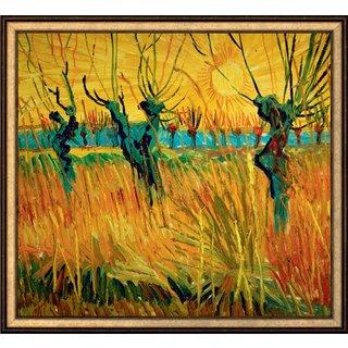 Vincent van Gogh: Bild 'Weiden bei Sonnenuntergang' (1888), gerahmt