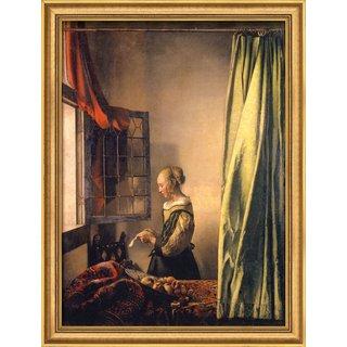 Jan Vermeer van Delft: Bild 'Brieflesendes Mädchen am offenen Fenster' (1658), gerahmt