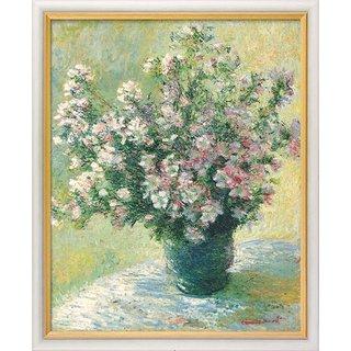 Claude Monet: Bild 'Vase à fleurs - Malvenstrauß' (1881/82), gerahmt