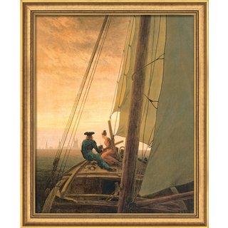 Caspar David Friedrich: Bild 'Auf dem Segler' (1818), gerahmt
