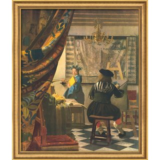 Jan Vermeer van Delft: Bild 'Die Malkunst' (1665), gerahmt