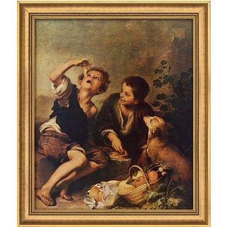 Bartolomé E. Murillo: Bild 'Die Pastetenesser' (um 1675), gerahmt