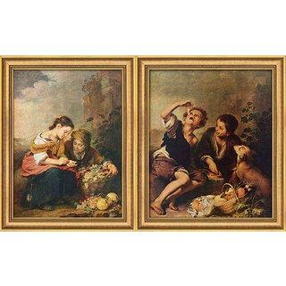 Bartolomé E. Murillo: 2 Bilder 'Die kleine Obsthändlerin' + 'Die Pastetenesser' im Set