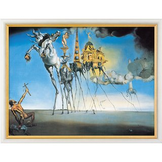 Salvador Dalí: Bild 'Die Versuchung des Heiligen Antonius' (1946), gerahmt