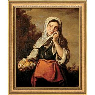 Bartolomé E. Murillo: Bild 'Mädchen mit Früchten und Blumen' (1655-1660), gerahmt