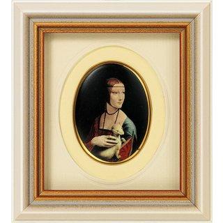 Leonardo da Vinci: Miniatur-Porzellanbild 'Dame mit Hermelin' (1488-90), gerahmt
