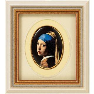 Jan Vermeer van Delft: Miniatur-Porzellanbild 'Das Mädchen mit dem Perlenohrring' (1665), gerahmt