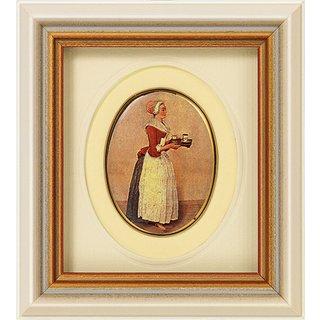 Jean-Étienne Liotard: Miniatur-Porzellanbild 'Schokoladenmädchen' (1743-45), gerahmt