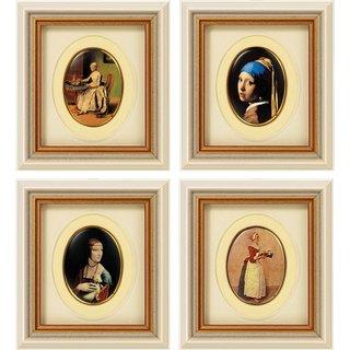 Vier Miniatur-Porzellanbilder 'Weltberühmte Meisterwerke' im Set