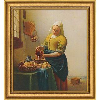 Jan Vermeer van Delft: Bild 'Dienstmagd mit Milchkrug' (1658), gerahmt