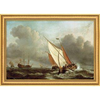 Willem van de Velde: Bild 'Schiff in stürmischer See' (1671), gerahmt