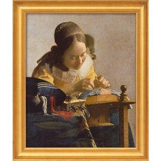 Jan Vermeer van Delft: Bild 'Die Spitzenklöpplerin' (1669-70), gerahmt