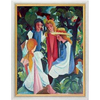 August Macke: Bild 'Vier Mädchen' (1912/13), gerahmt